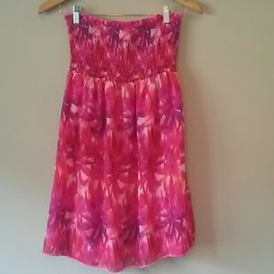 Pink Palm Tree Strapless Bandeau Sundress/Cover up